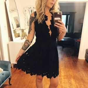 Black lace overlay night out dress